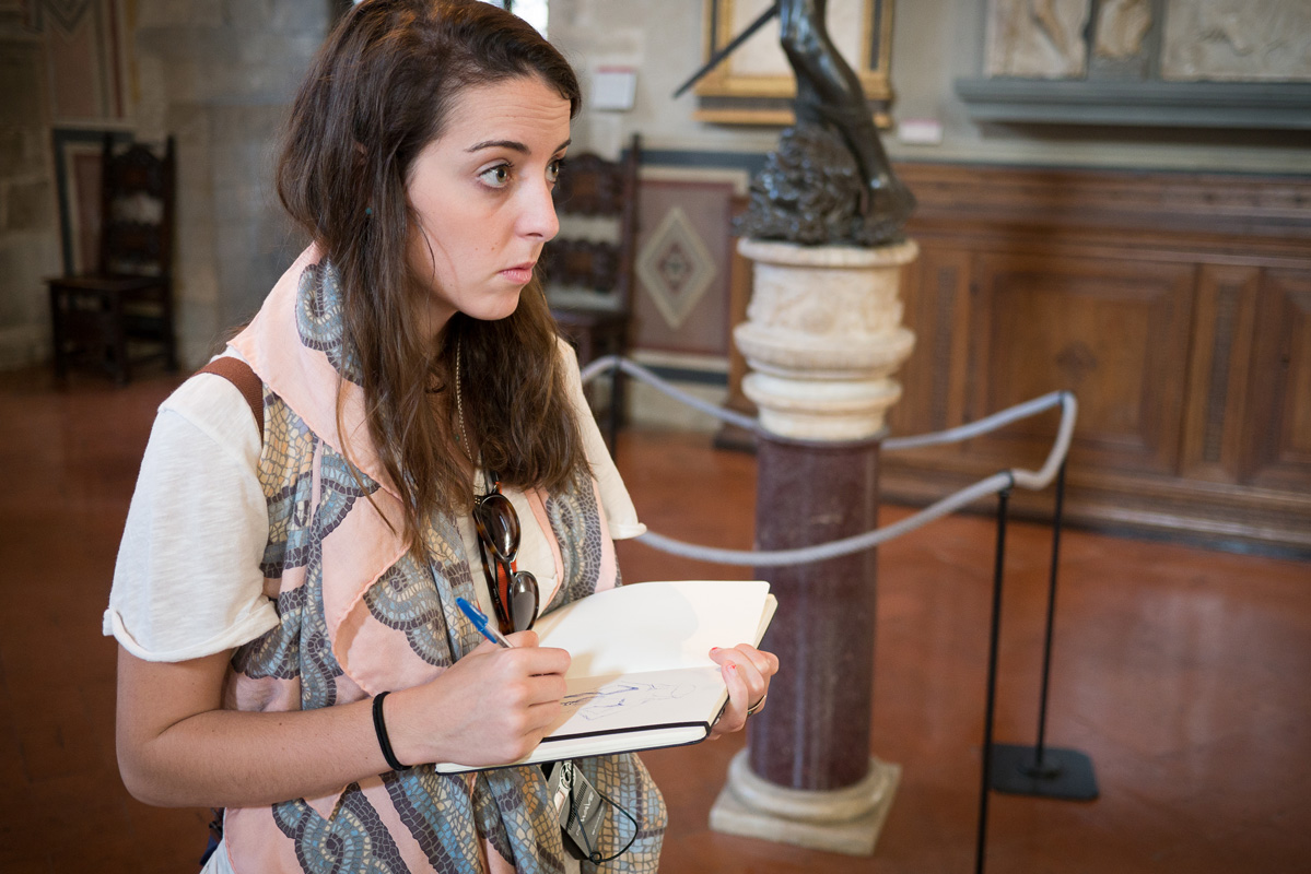 UGA student drawing in the Bargello